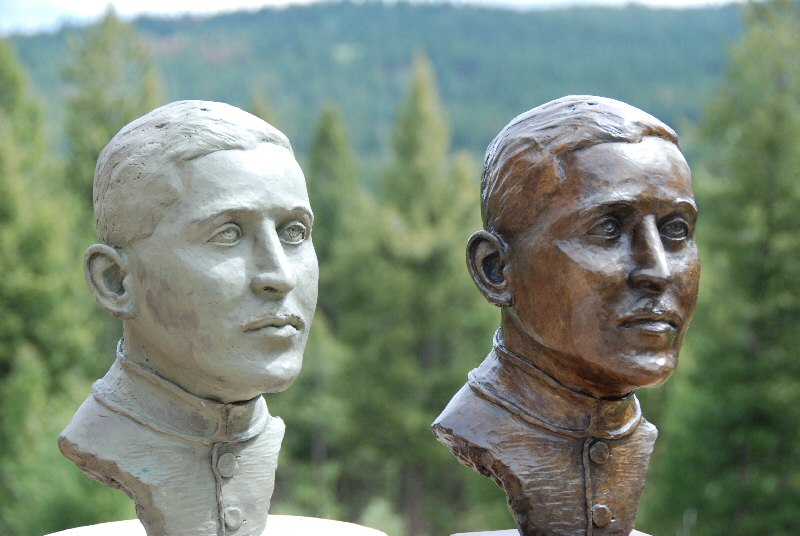 Bronze bust and clay bust of Canadian WW I hero flying ace Billy Bishop