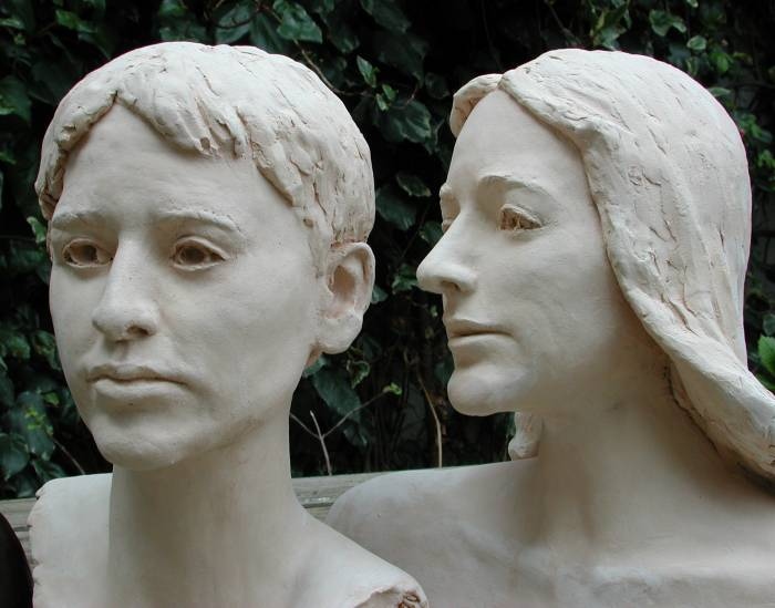 The same busts in terra cotta: original clay artwork fired in a kiln