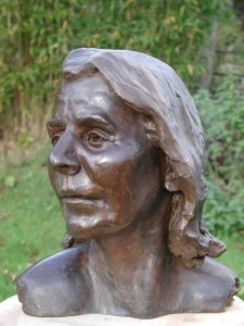 Bronze bust of mathematics teacher and amateur actress Joy McQuade - click here for larger view
