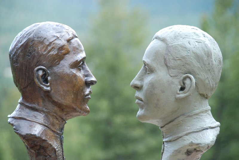 face to face the clay bust and bronze bust of Canadian aviator Billy Bishop (William Bishop)