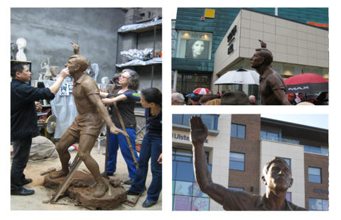 Public art lifesize sculpture commission in bronze